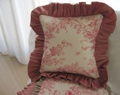 "The ""French Boudoir Collection"" - 12"" X 12"" romantic French ""Toile de Jouy"" pillow cover with silk shantung ruffle"