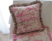 """The """"French Boudoir Collection"""" - 12"""" X 12"""" pink French """"toile de jouy"""" cottage pillow cover with taupe silk shantung ruffle"""