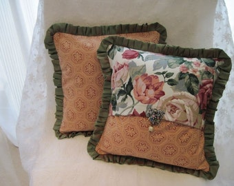 """The """"English Collection"""" - 12"""" X 12"""" English country lush flower cottage style pillow cover with raw silk ruffle"""