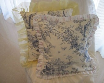 """The """"French Boudoir Collection"""" - 16"""" X 16"""" French """"Toile de Jouy"""" cottage style pillow cover with cotton muslin ruffle"""