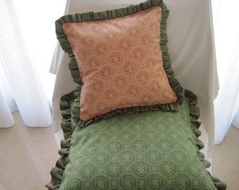 """The """"English Collection"""" -  12"""" X 12"""" delicate English peachy rose print cottage style pillow cover with raw silk ruffle"""
