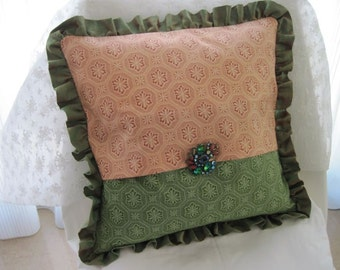 """The """"English Collection"""" -  16"""" X 16"""" delicate English peachy rose & elegant green print cottage style pillow cover with raw silk ruffle"""