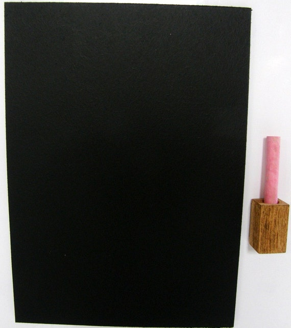 Chalkboard for fridge door with wooden block and a chalk