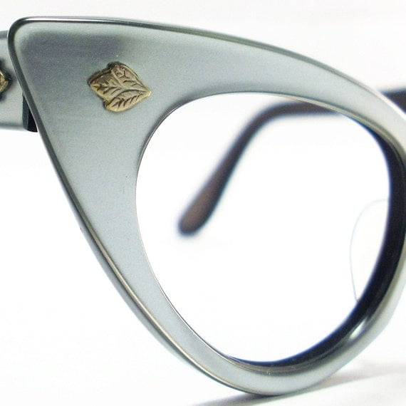 Vintage 50s Cat Eye Eyeglasses Sunglasses Glasses New Silver Blue