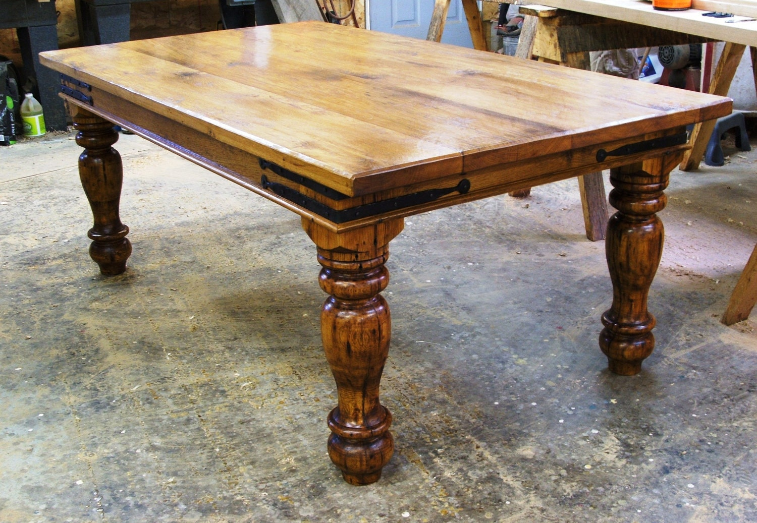 Reclaimed barnwood farmhouse table by FurnaceBrookIron on Etsy