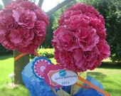 10 night of navy Centerpiece Topiaries, Hand Crafted Paper Flower Rosette Topiaries,