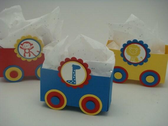Train Favor Boxes, custom design party, children, 12 for 12.00