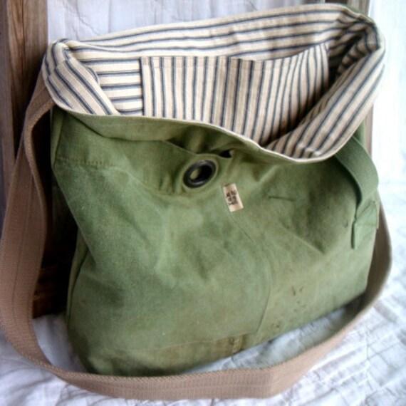 Grommet - reconstructed vintage military duffle messenger bag
