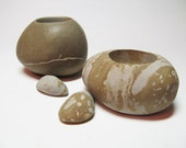 RESERVED  Glacial Stone Tealight Holders - Set of Two