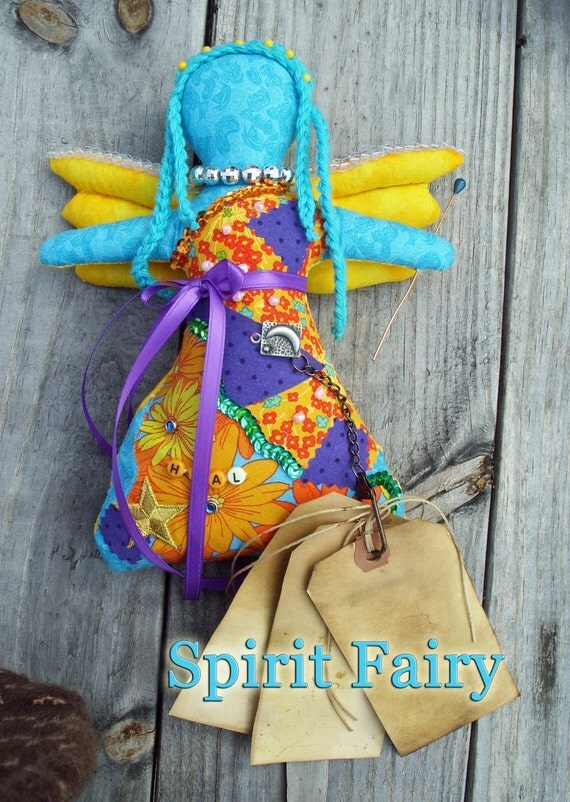 Spirit Fairy Fabric Stuffed Doll OOAK with Spiritism Prayer for Good Fortune, Protection and Healing Work