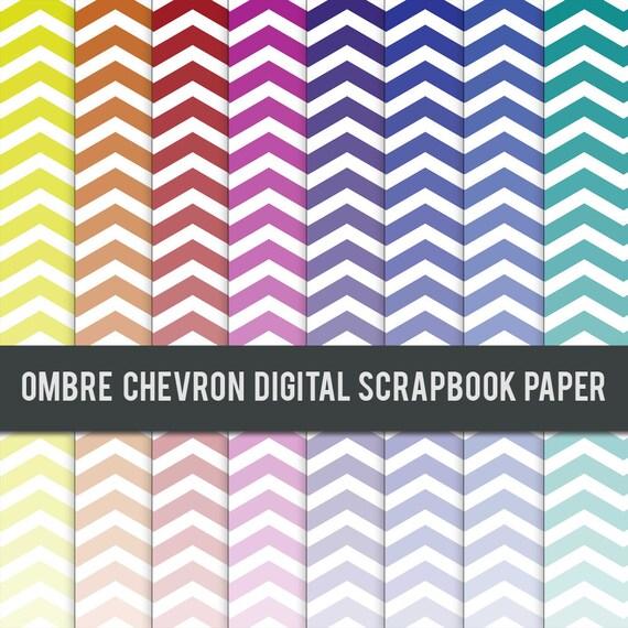 Digital Scrapbook Paper - Ombre Chevron Paper Set Rainbow Colors