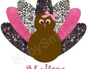 Thanksgiving Turkey IRON ON TRANSFER for Girls - Custom Name - Super Cute for Girls to Wear on Thanksgiving Day - Perfect Special Gift