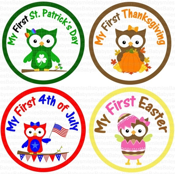 First Holiday Owl GIRL Photo Stickers Monthly Baby Stickers Monthly Bodysuit Sticker Baby Month Sticker Holiday Stickers Baby Shower