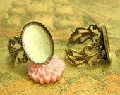 4 pcs Adjustable Ring Base Ring Settings with 18x13mm Blank Pads Antique Bronze CH0775