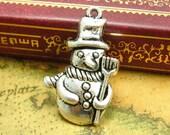 10 pcs Antique Silver Christmas Charms Snowman Charms 27x16mm CH0834