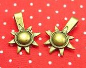 10 pcs Antique Bronze Sun and Moon Bails Glue On Bails CH0970