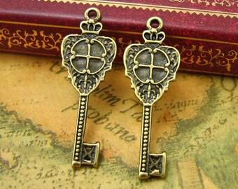 20 pcs Antique Bronze Crown Key Charms 32x12mm CH0084