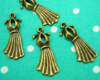 10 pcs Antique Bronze Dress Charms 22x9mm CH0218