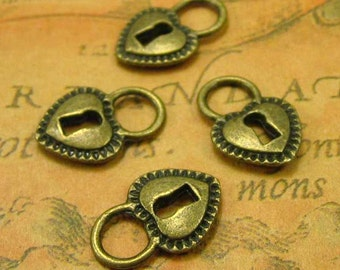20 pcs Antique Bronze Heart Lock Charms 17x12mm CH0451