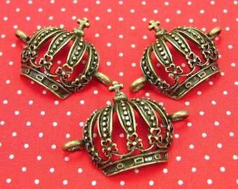 10 pcs Antique Bronze Crown Charms 32x23mm CH0241