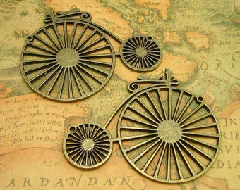 2 pcs Antique Bronze Penny-Farthing Bicycle Pendants Bicycle Charms 75x60mm CH0165
