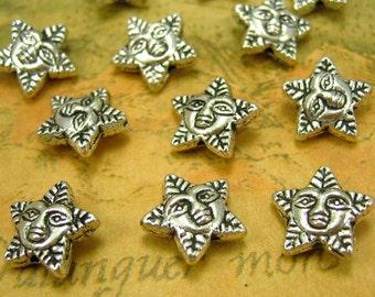 20 pcs Silver Sun Beads 11mm CH0525