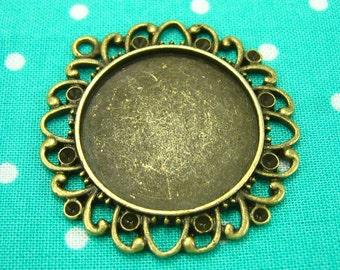 6 pcs Antique Brass Bezels Cameo Settings Antique Bronze Pendant Trays 25x25mm CH0538