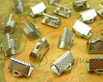 50 pcs Silver Tone Textured Crimp End for Ribbon 10mm CH0565
