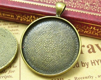 5 pcs Antique Brass Bezel Cameo Settings Pendant Trays 30x30mm CH0575