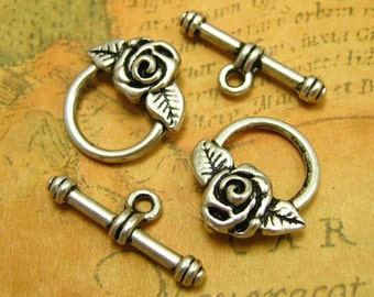 Toggle Clasps Antique Silver, 20 Sets Nickel Free CH0586