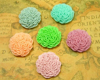 Flower Cabochon, 10 pcs Assorted Color flower Cab Flat back 24x24mm Resin Lucite CH0600