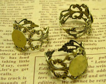 5 Pcs Antique Bronze Adjustable Ring Base Ring Settings with 10mm Pads CH0604