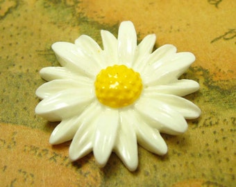 Resin Chrysanthemum Cabochon, 10 pcs White Resin Flower Cab 25mm Resin Lucite CH0628