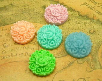 Resin Flower Cabochon, 10 pcs Flat Back Assorted Color Flower Cab 17.5mm Resin Lucite CH0667