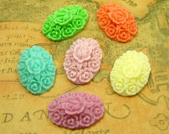 Resin Flower Cabochon, 10 pcs Flat Back Assorted Color Flower Cab 20x14mm Resin Lucite CH0669