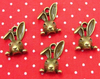 20 pcs Antique Bronze Bunny Charms Rabbit Charms 13x9mm CH0054