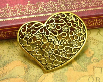 5 pcs Gold Plated Filigree Pendants Heart Charms 40x43mm CH0720