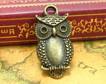 10 pcs Antique Bronze Owl Charms Connectors 23x13mm CH0772