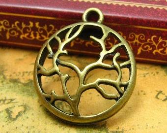 10 pcs Antique Bronze Tree Charms 29x24mm CH0796