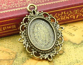 10 pcs Bezels Cameo Settings Antique Bronze Cameo Base Settings Pendant Trays 18x13mm CH0822