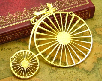 2 pcs Gold Plated Penny-Farthing Bicycle Pendants Bicycle Charms 75x60mm CH0833