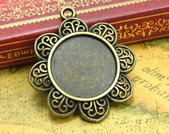 10 pcs Bezels Cameo Settings Antique Bronze Cameo Base Settings Pendant Trays 20x20mm CH0835