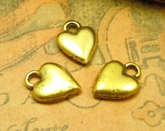 20 pcs Gold Plated Heart Charms 14x11mm CH0135