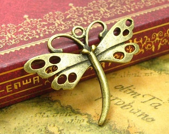 10 pcs Antique Bronze Butterfly Charms 36x28mm CH0839