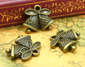 20 pcs Antique Bronze Christmas Bell Charms Double Sided 17x15mm CH0840