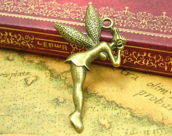 10 pcs Antique Bronze Fairy Charms Angel Charms 40x28mm CH0841