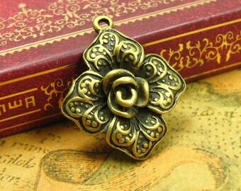 10 pcs Antique Bronze Flower Charms 23x23mm CH0912