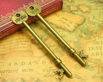 6 pcs Antique Bronze Skeleton Key Charms 93x19mm CH0953