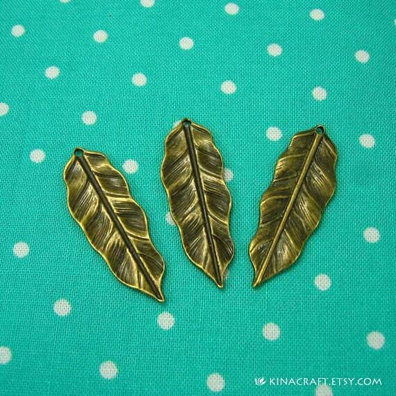 20 pcs Antique Bronze Leaf Charms Leaf Pendants 36x12mm CH0305