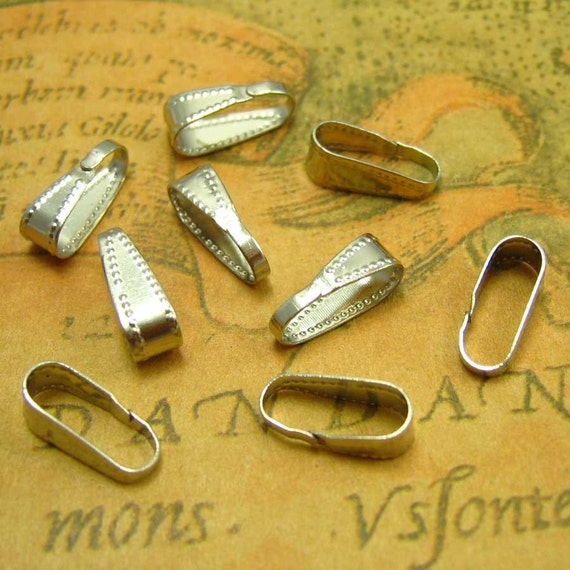 Pendant Bails, 20 pcs Nickel Free Silver Plated Necklace Clasps CH0592